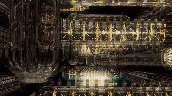 魔幻机械化虚拟机器伸缩旋转运动高科技屏幕背景视频素材