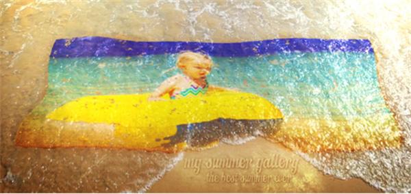 AE模板 新颖夏日沙滩海水浮动粒子转换动态幻灯片模板 AE素材