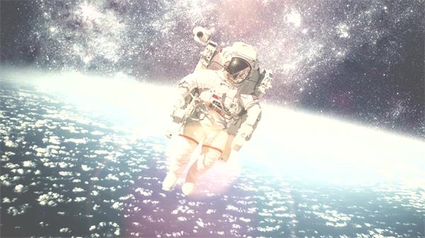 唯美灿烂宇宙星空宇飘浮粒子航员飘浮镜头静态配景视频素材