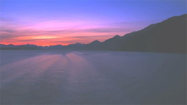自然唯美阿拉斯加日落晚霞湖面山峰景色延时高清视频拍摄