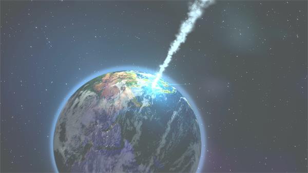 闪亮陨石光速朝向地球引发爆炸动态视觉效果情景背景视频素材