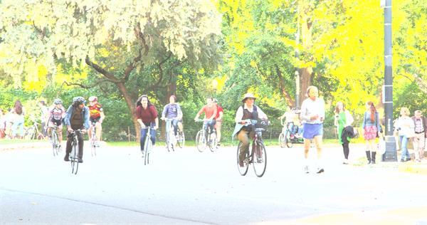 公园路上人们在骑自行车和跑步镜头高清视频拍摄实拍