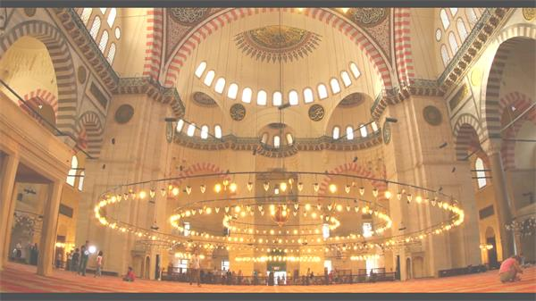 土耳其蘇萊曼神圣清真寺內部唯美風光鏡頭記錄高清視頻實拍