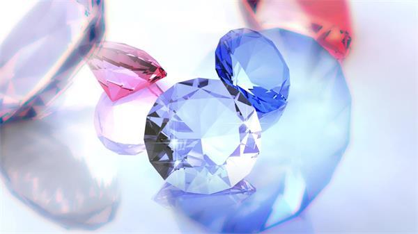 奢华贵气蓝色红色钻石摆放旋转闪闪发光屏幕展示背景视频素材