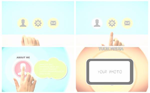 会声会影X6模板 简洁智能化科技触屏手势滑动切换演示幻灯片模版