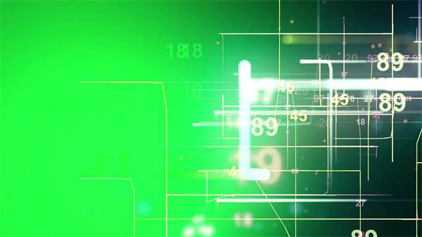 酷炫绿色光效数字计数动画动态视觉效果屏幕LED背景视频素材