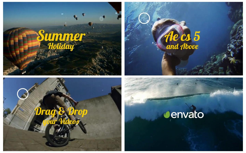 AE模板 夏日暑假写意旅途玩乐转接动态幻灯片宣传模板 AE素材