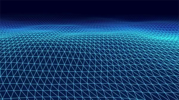 3D景观浪漫蓝色网格呈现波浪变幻活力视觉舞台动态背景视频素材