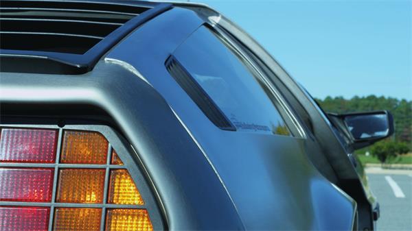 磨砂蓝色汽车后视角车门向上打开制动特写镜头高清拍摄实拍