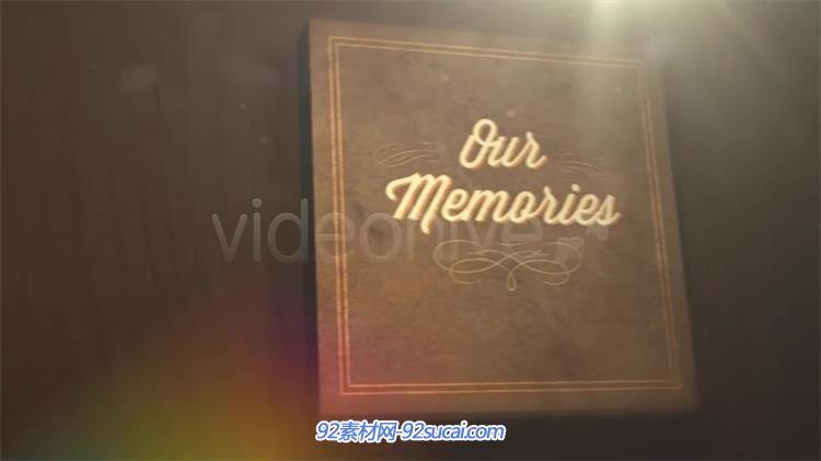 ae模板 复古怀旧照片书本翻页效果切换展示回忆相册模板 ae素材