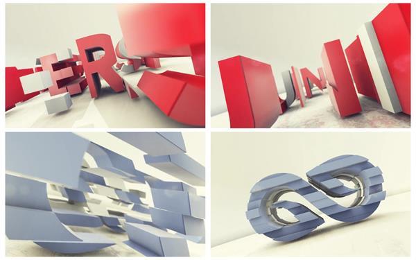 AE模板 简单炫酷字母板块不规则图形组合企业LOGO宣传模板 AE素材