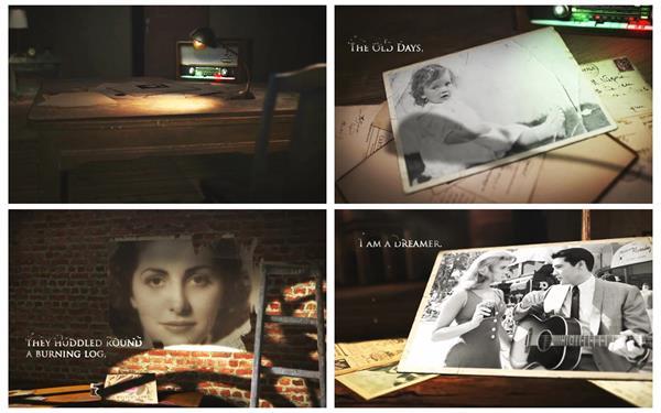 AE模板 迷失記憶電影氛圍渲染懷舊風格電子相冊揭示模板 AE素材