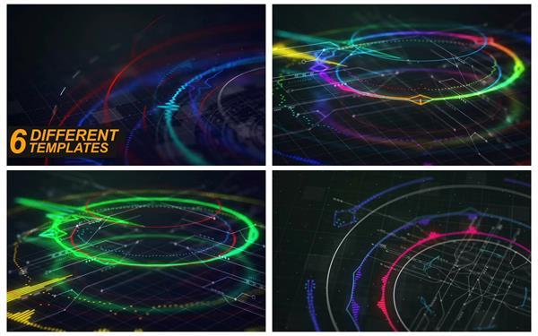 AE模板 精致动感HUD光效频率跳动渲染音乐会开场片头模板 AE素材