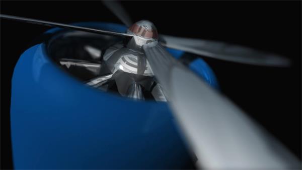 3D虚拟场景飞机机翼旋涡发动机旋转现代科技形象展示视频素材