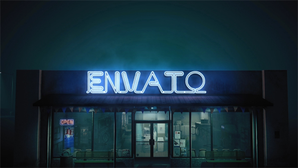 AE模板 史詩般光效街頭店鋪演霓虹燈繹創意燈效LOGO模板 AE素材