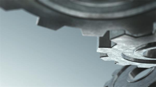 动感创意金属齿轮旋转渲染高科技机械化时代背景视频素材