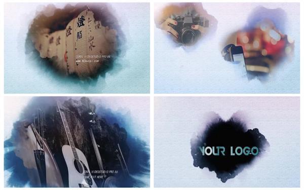 会声会影X6模板 大气古典水滴渲染水墨晕染效果淡开相册片头模板