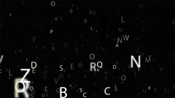 眼花缭乱英文字母字符飘浮不规则运动动画镜头动态背景视频素材