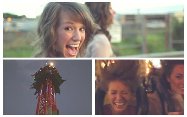 女士游乐场玩耍机动游戏跳楼机过山车人物欢乐生活高清视频实拍