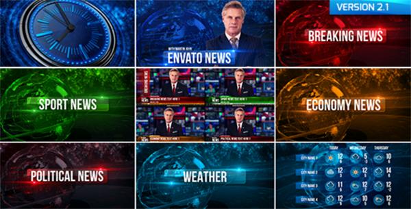 AE模板 科技創新廣播設計新聞天氣動畫宣傳展示模板 AE素材