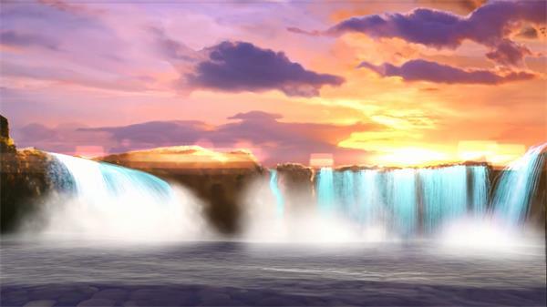 日落傍晚高崖飞瀑水气蒙蒙珠玑四溅静态视觉结果舞台配景视频素材