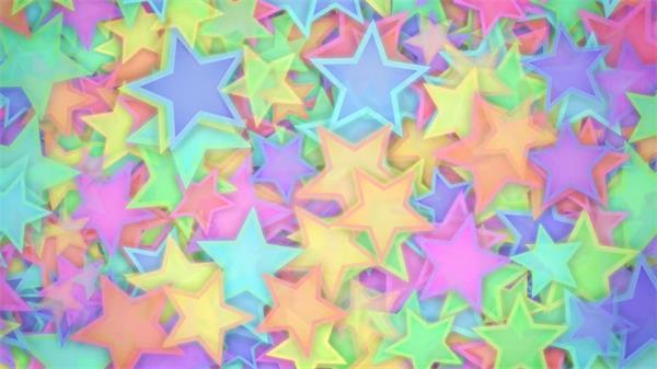 色彩缤纷童趣星星图案密集重叠不规则运动视觉效果视频素材