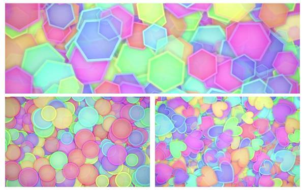 3款缤纷色彩菱形心形圆球图案粒子缩放跳动屏幕背景视频素材
