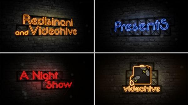 AE模板 虚拟霓虹招牌灯缤纷多彩深夜秀开幕式展示模板 AE素材