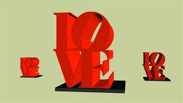 立体浪漫LOVE字体形状旋转运动变幻视觉动态屏幕LED背景视频素材