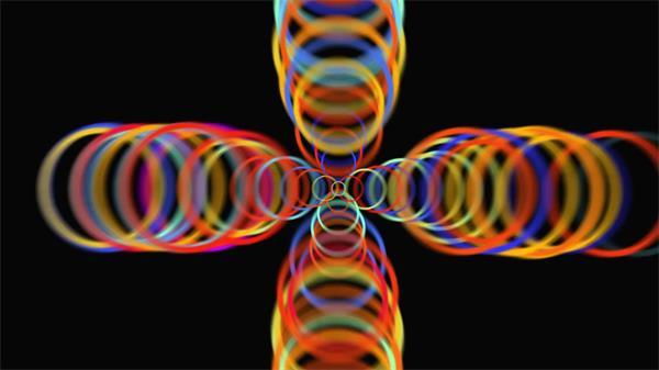 动感缤纷色彩圆圈层叠四方散开欢乐喜庆场景舞台背景视频素材