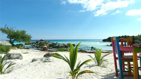 墨西哥图卢姆玛雅文化重要遗址沙滩大海景色风光高清视频实拍