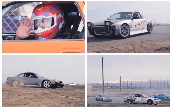 赛车场参赛车辆快速漂移扬起沙尘滚滚人物比赛记录高清视频实拍
