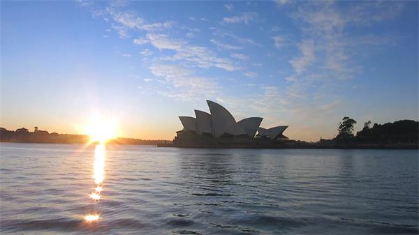 澳大利亚悉尼歌剧院日落西山院外建筑自然风光延时高清视频实拍