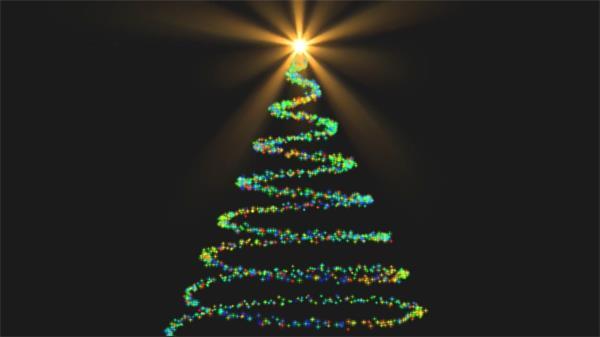 四角形粒子线条旋转绕成圣诞树光效发亮跳动视觉效果视频素材