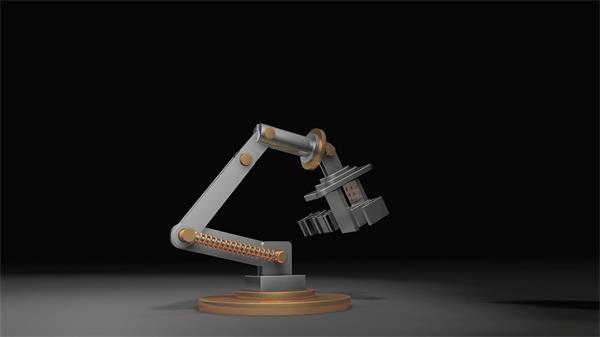 精致智能机械化座架360度旋转展示企业标志场景抽象视频素材