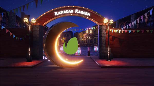 AE模板 优雅古典意境月亮渲染欢乐节日氛围LOGO标志模板 AE素材