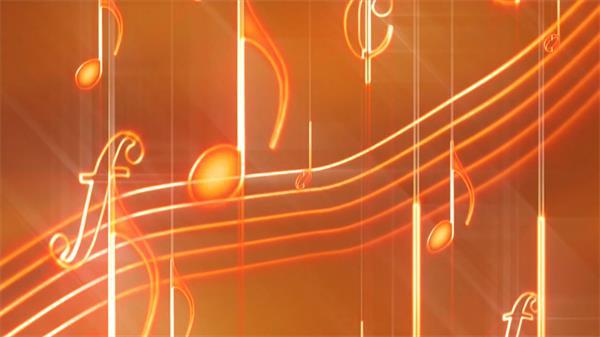 渐变橙色音乐元素印谱音符不规则飘浮运动效果屏幕LED背景视频素