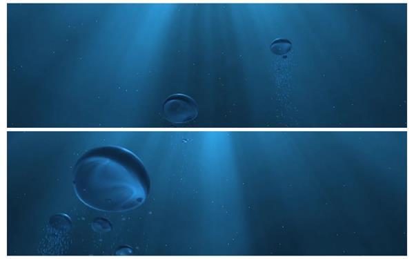 华丽神秘曙光照射水底气泡冒起上升变化场景背景视频素材