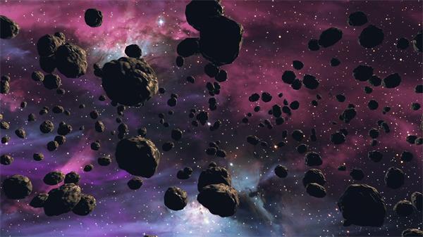 宇宙空间陨石群运动粒子星光渲染抽象场景舞台背景视频素材