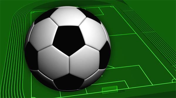 适用足球场配景足球旋转呈现竞赛电视栏目过渡视觉场景视频素材
