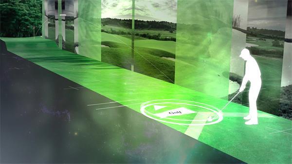 虚拟绿草光效渲染模拟高尔夫场景VR背景介绍宣传片视频素材