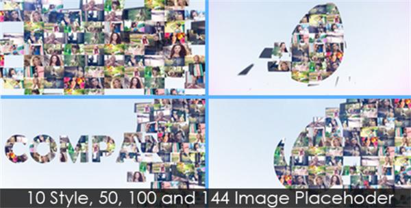 AE模板 炫酷多图像表现拼接转换多样性LOGO宣传幻灯片模版 AE素材