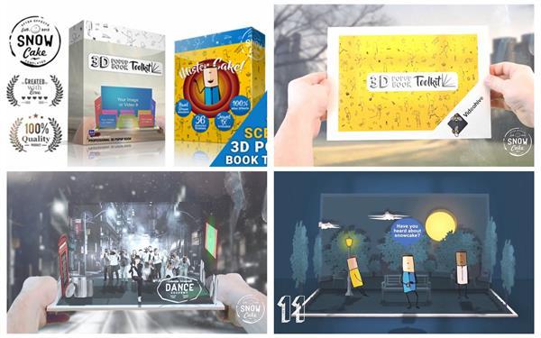 AE模板 创新逼真3D人物动画情景故事立体手工书幻灯片模版 AE素材