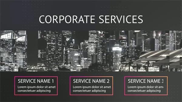 AE模板 优雅黑白幻彩企业商业数据标题推广动画幻灯片模版 AE素材