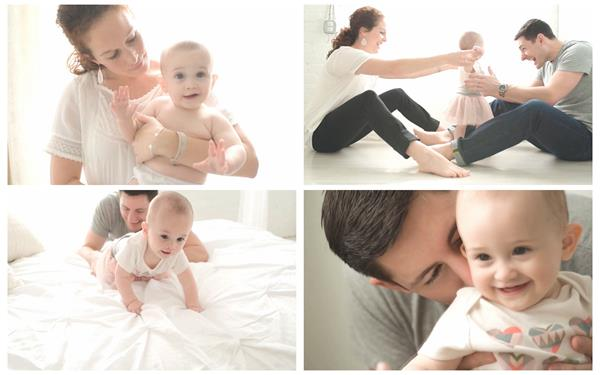 温馨幸福家庭出生婴儿学走路爬行小孩穿衣玩耍欢乐亲情高清视频拍