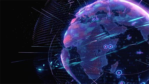 超强科技圆形地球大数据穿梭互联网时代分析视觉图形视频素材