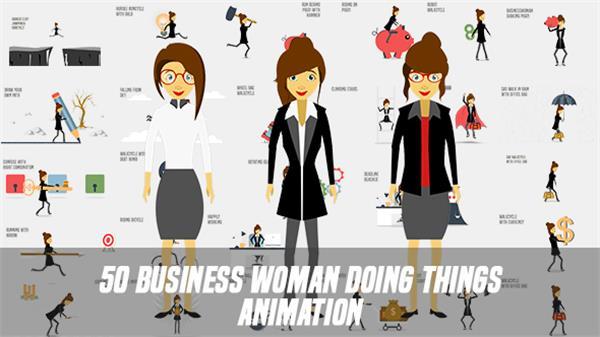 AE模板 科技商业女士卡通动画全息职场生活演绎商务片头模板 AE素