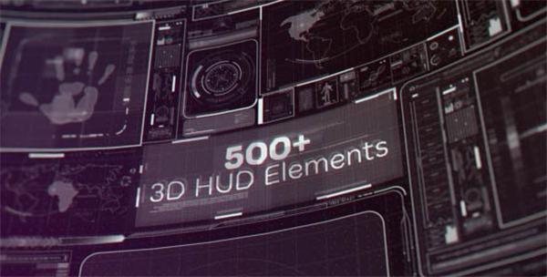 AE模板 500+HUD元素科技3D空间演绎电影场景视觉片头模板 AE素材