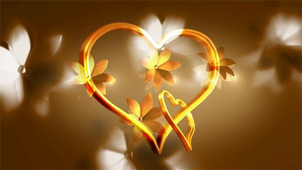 浪漫温馨金色爱心旋转花朵渲染氛围情人节婚礼背景视频素材