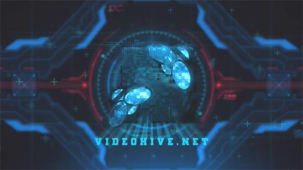 AE模板 创新科技虚拟科幻光学耀斑线性投射LOGO动画模版 AE素材